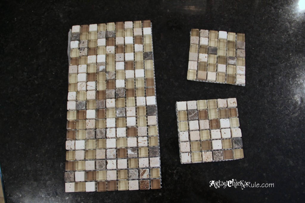 Kitchen Tile Backsplash- cut pieces for medallians- artsychicksrule.com #backsplash #tile #diy