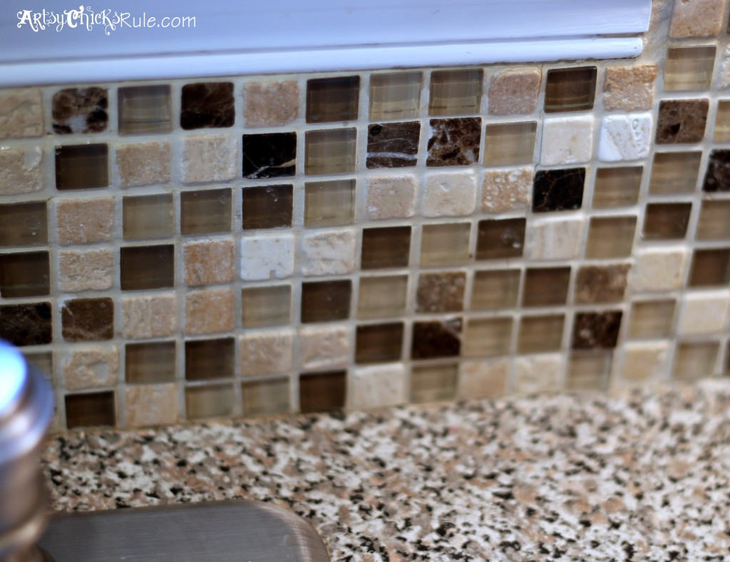 Kitchen Tile Backsplash- edges around trim- artsychicksrule.com #backsplash #tile #diy