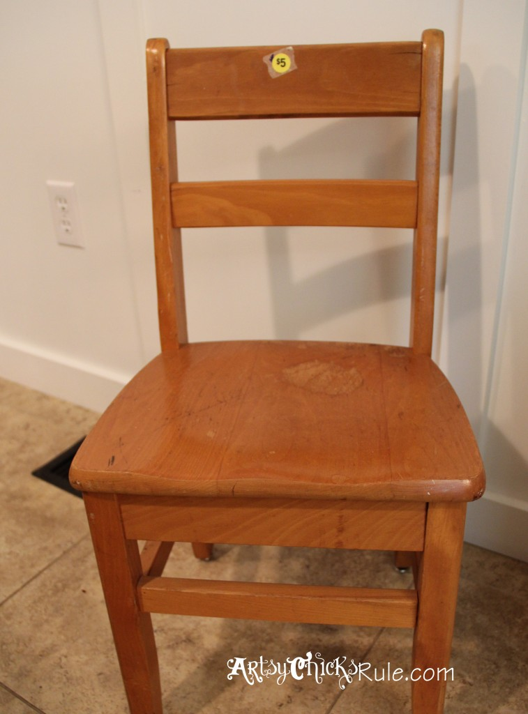Garage Sale Chair Makeover with Chalk Paint Before