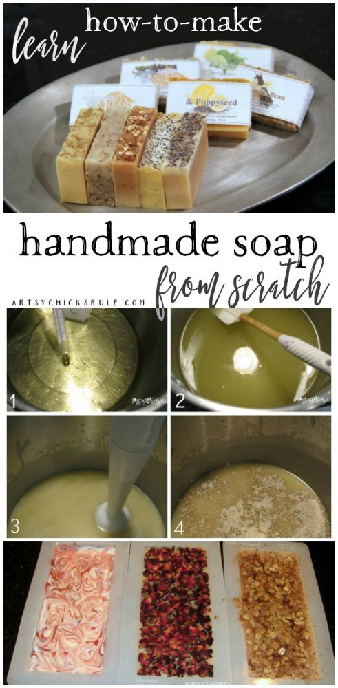 Learn How To Make Handmade Natural Soap... From Scratch!!! Natural Soap Making artsychicksrule.com #soapmaking #coldprocesssoap #naturalsoap #handmadesoap #homemadesoap #soaptutorial #diysoap