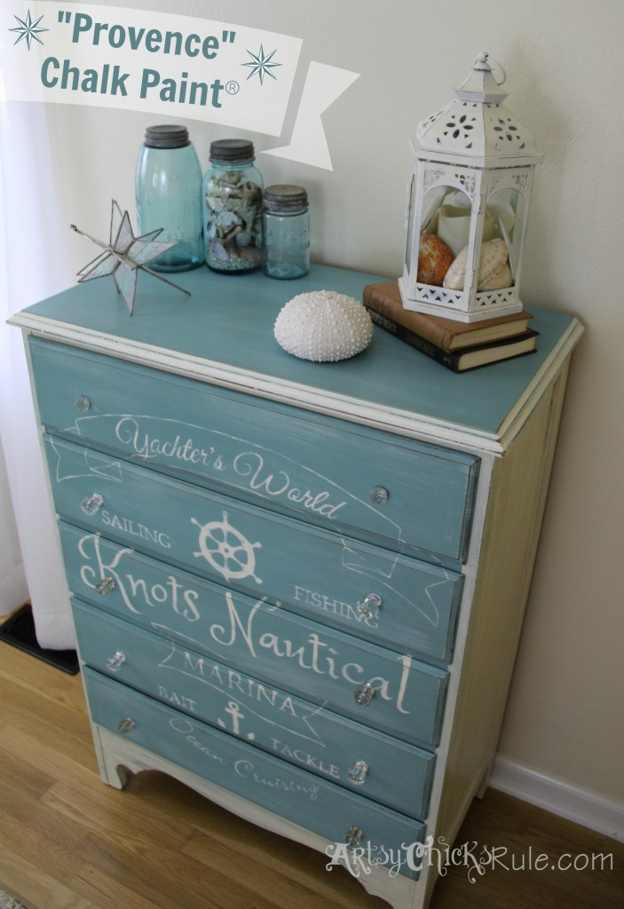 Coastal Themed Chest With Custom Graphics & Chalk Paint!! artsychicksrule.com #provencechalkpaint #chalkpaintedfurniture #paintedfurniture #nauticaldecor #bluefurniture #coastaldecor