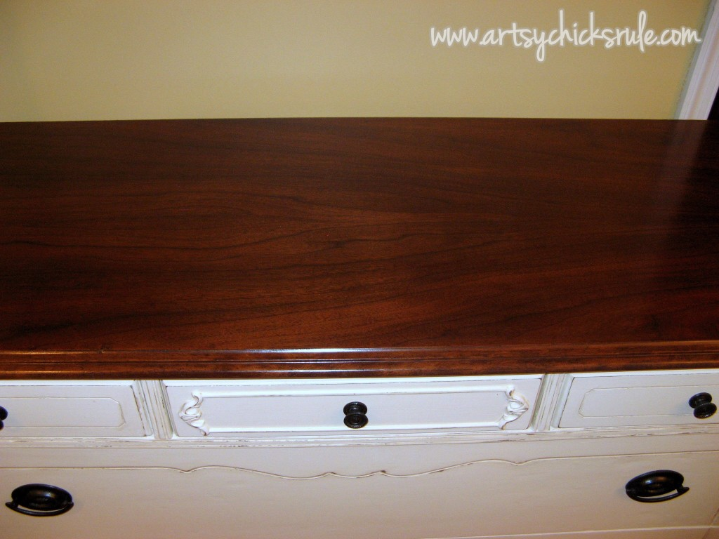 Antique Dresser After Painting- Refinished Top