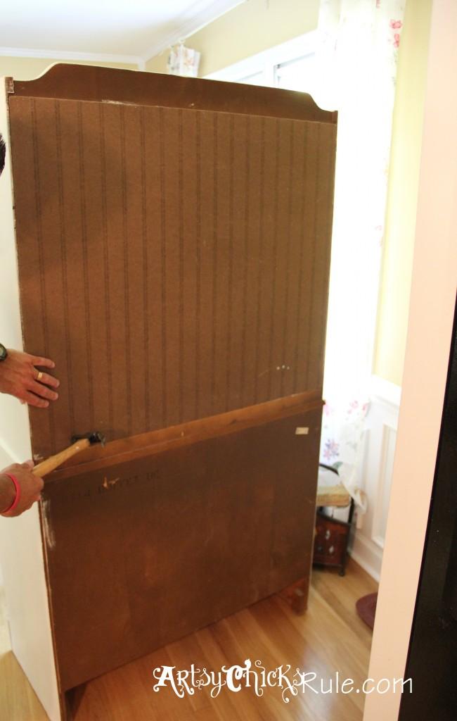Baker's Hutch - Attaching New Beadboard Back - Annie Sloan Chalk Paint
