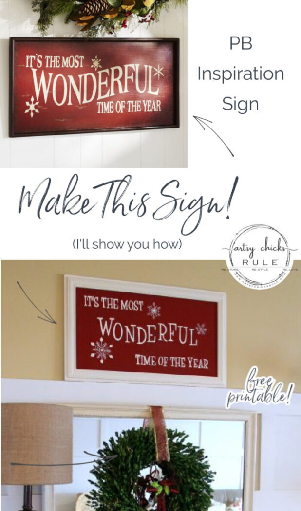 Make This! DIY It's The Most Wonderful Time of The Year sign! artsychicksrule.com #mostwonderfultimeoftheyear #christmasprintable #christmassign