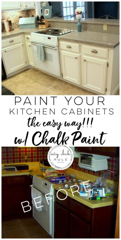 SO much easier!! Love it! artsychicksrule.com Kitchen Cabinet Makeover with Chalk Paint artsychicksrule.com #kitchencabinetmakeover #chalkpaintedcabinets #paintedkitchencabinets #usingchalkpaintforcabinets