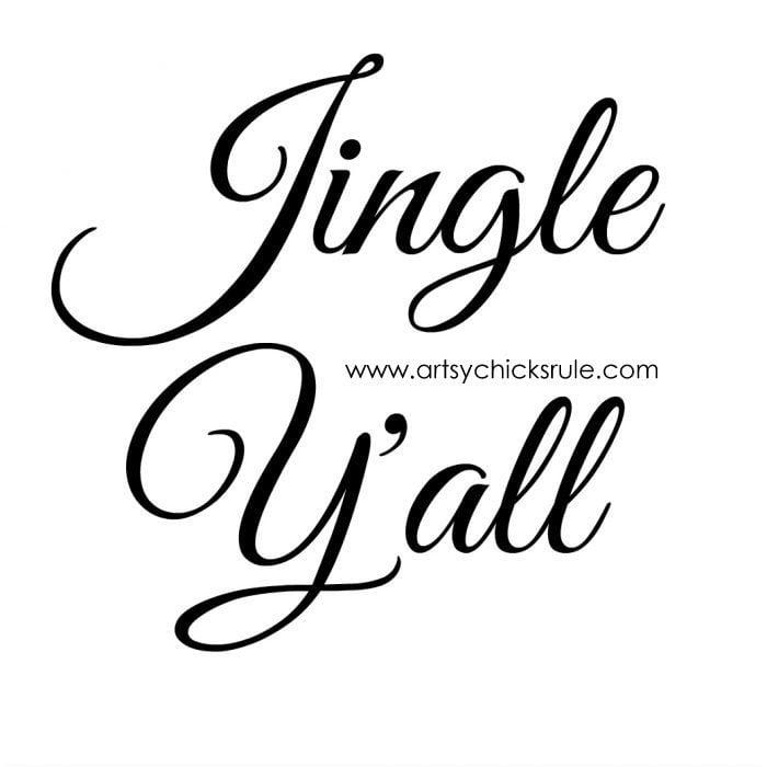 Jingle Y'all Painted Pillow FREE PRINTABLE!! artsychicksrule.com