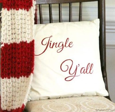 Jingle Y'all – Thrifty Pillow Makeover w/Chalk Paint