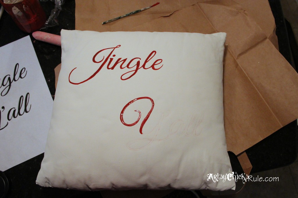 Jingle Y'all Painted Pillow artsychicksrule.com