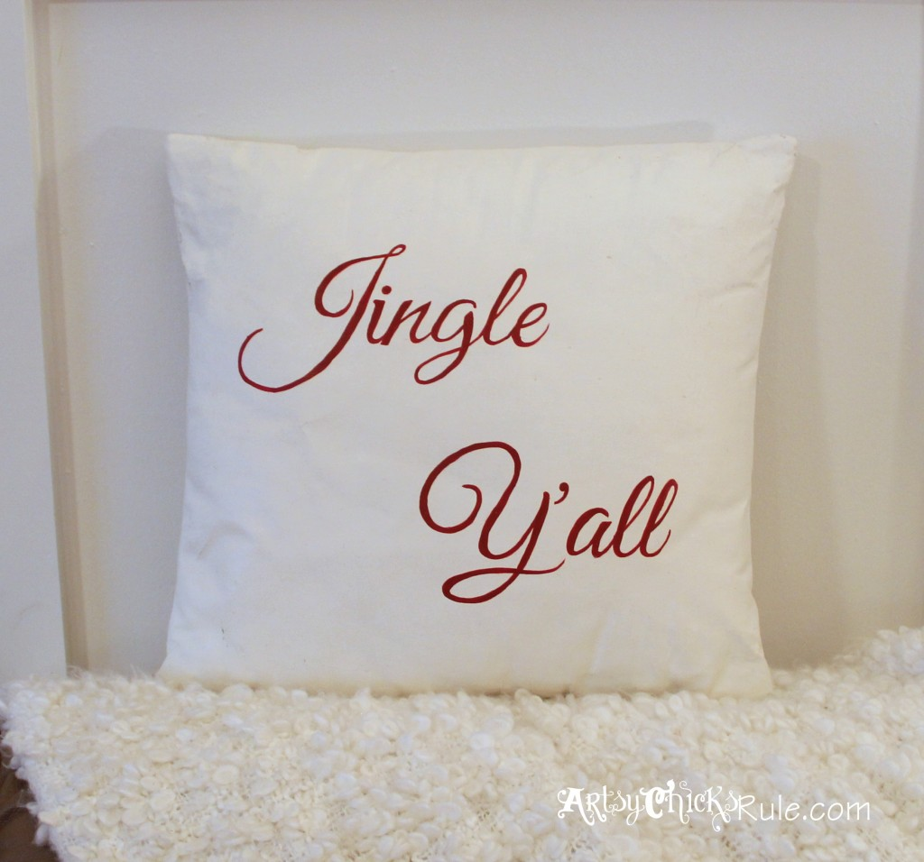 Jingle Y'all Thrift Store Pillow - Painted w Chalk Paint - Hand Painted Graphics - #chalkpaint #diy #holidaydecor #Christmasdecor artsychicksrule.com