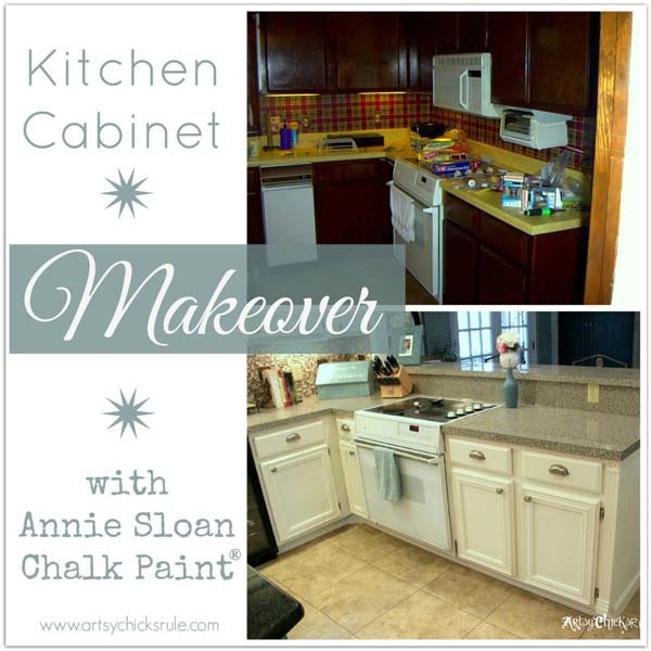 Kitchen Cabinet Makeover With Chalk Paint Artsychicksrule Kitchencabinetmakeover Chalkpaint