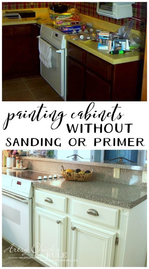 SO much easier!! Love it! artsychicksrule.com Kitchen Cabinet Makeover with Chalk Paint artsychicksrule.com #kitchencabinetmakeover #chalkpaint