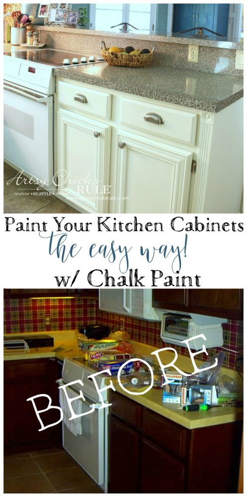 Kitchen Cabinet Makeover (Annie Sloan Chalk Paint) - Artsy Chicks