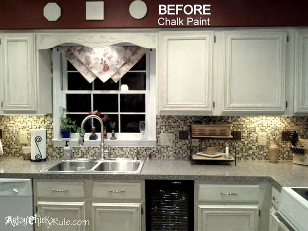 Chalk Paint On Kitchen Cabinets kitchen cabinet makeover (annie sloan chalk paint)  artsy chicks