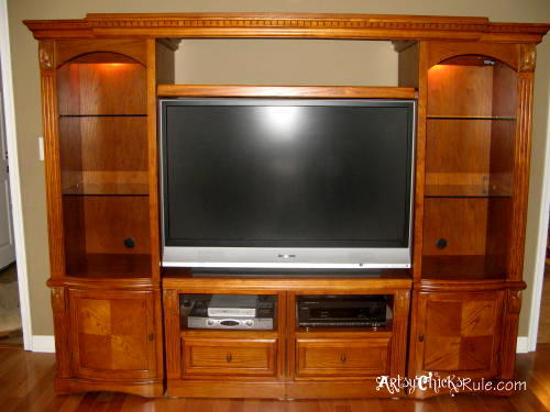 Project - Move the TV- Wall Unit before - artsychicksrule.com #roommakeover
