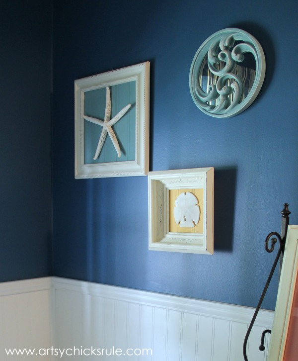 Simple Art with leftover beadboard, thrift store frames and starfish, sand dollars or seashells - artsychicksrule