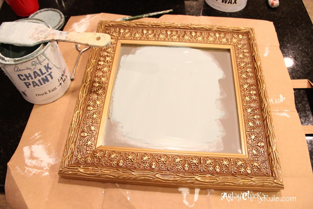 baby it's cold outside- thrift store mirror- painting with Duck Egg Blue Chalk Paint artsychicksrule.com