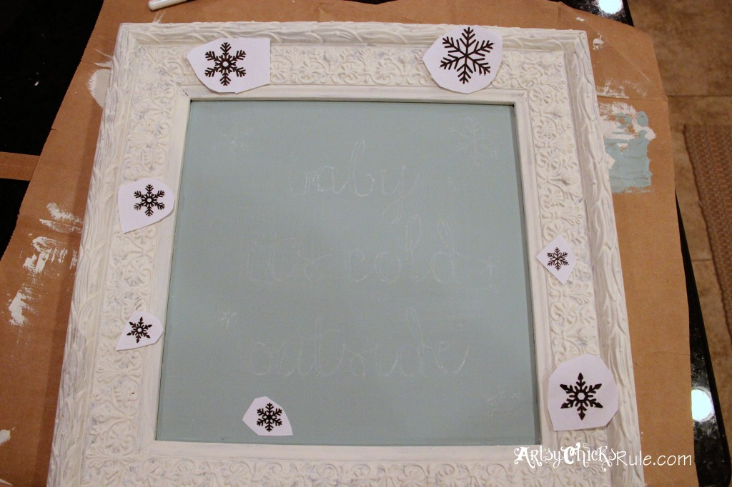 baby, it's cold outside - thrifty artwork - Duck Egg Blue Chalk Paint-graphics transferred artsychicksrule.com