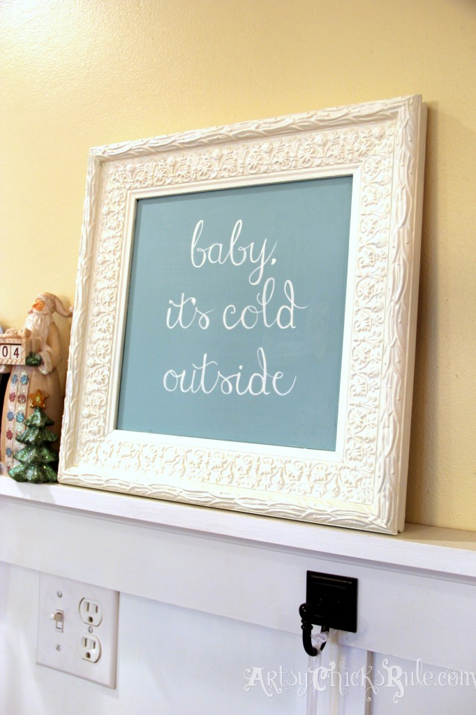 Baby It's Cold Outside - DIY - Thrift Store Frame to Holiday Art artsychicksrule.com