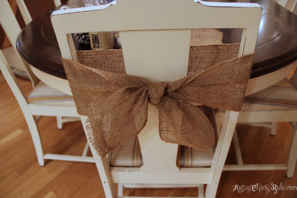 Burlap Chair wrap with simple knot