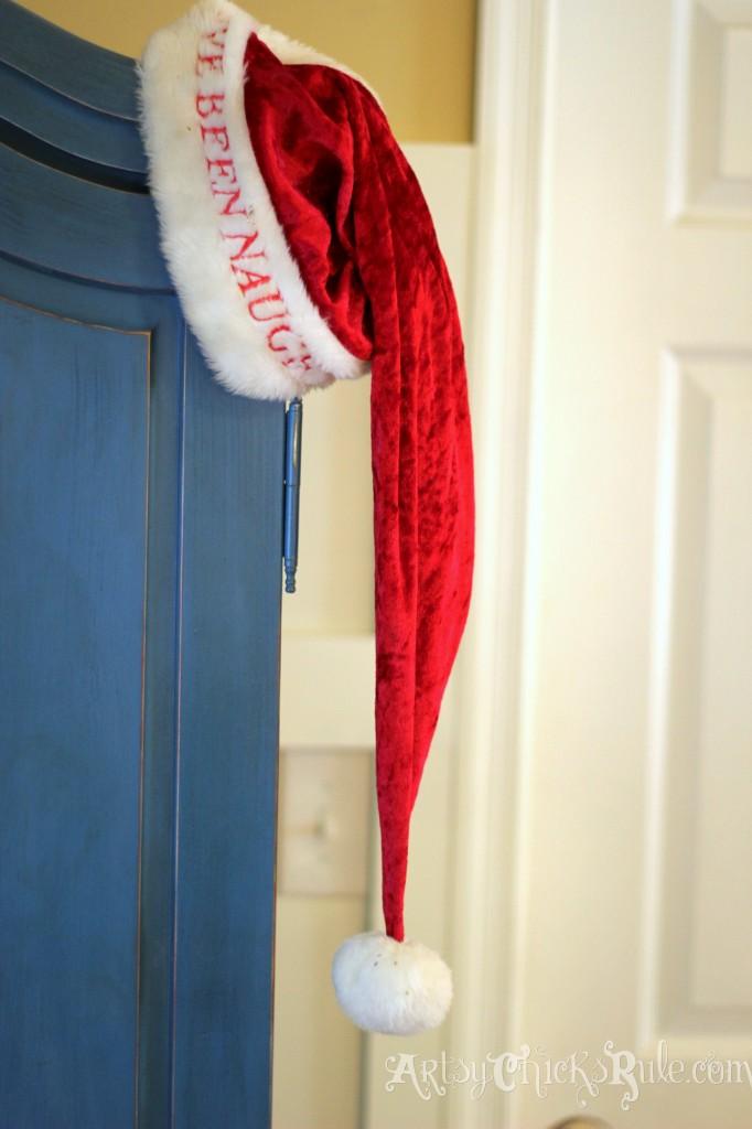 Chalk Painted Blue Armoire with Naughty and Nice Santa Hat - Holiday Home Tour