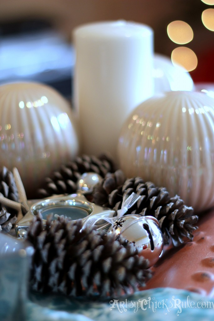 Close up of DIY pine cones holiday tray - Holiday Home Tour