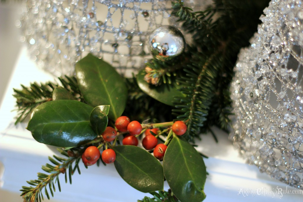 Natural elements in holiday decorating - Holly - Holiday Home Tour