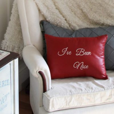 Naughty or Nice? Thrifty Pillow Makeover w/Chalk Paint