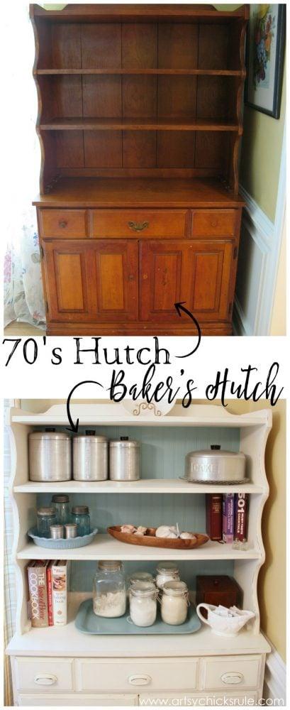 Dated 70's Hutch TURNED Bakers Hutch!! artsychicksrule.com #hutch #bakershutch #paintedfurniture #furnituremakeover #chalkpaint