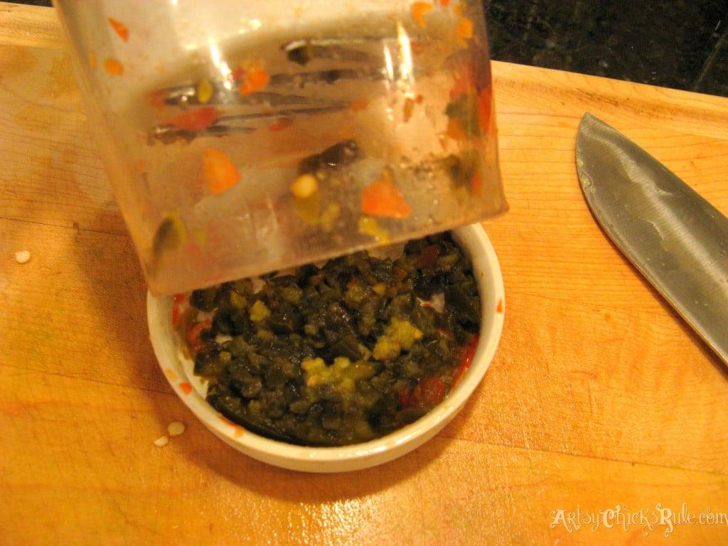 Chopping green chilis for Quinoa Black Bean Dip