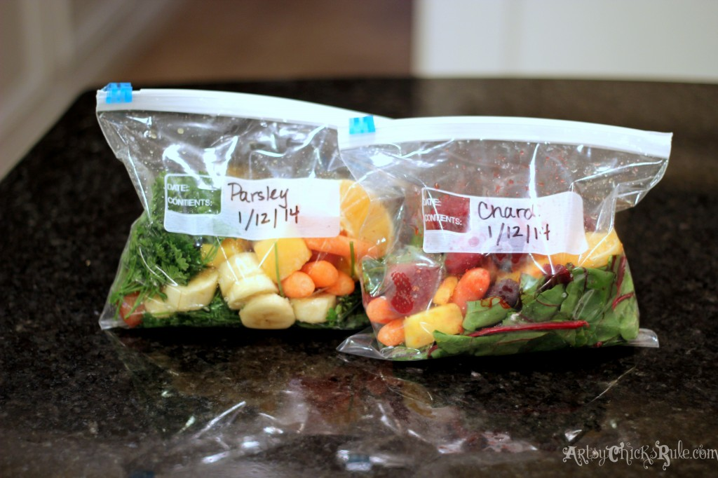 Green Smoothie Packed and Frozen for easy blending