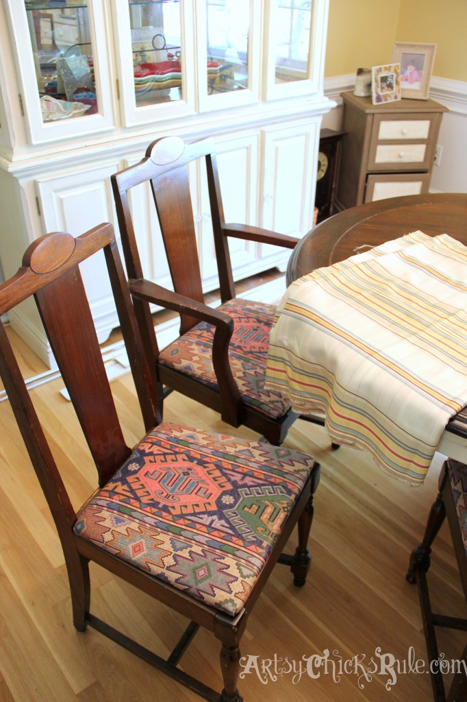 Dining Chair Makeover Before - artsychicksrule.com #nosew