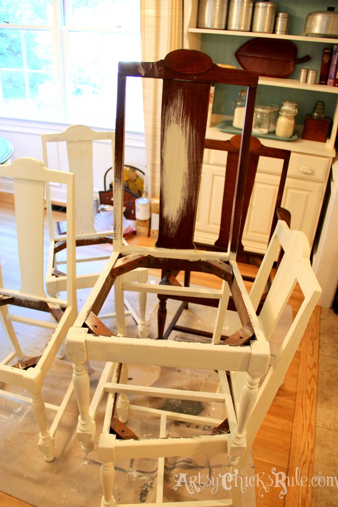 Dining Room Makeover - Painting Chairs - artsychicksrule.com #nosew