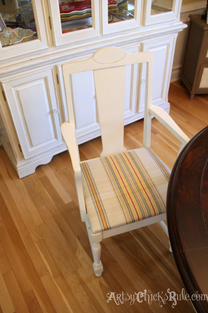 Easy change up for the Dining Room. Craigslist chairs with clearance bin fabric! - artsychicksrule.com #nosew