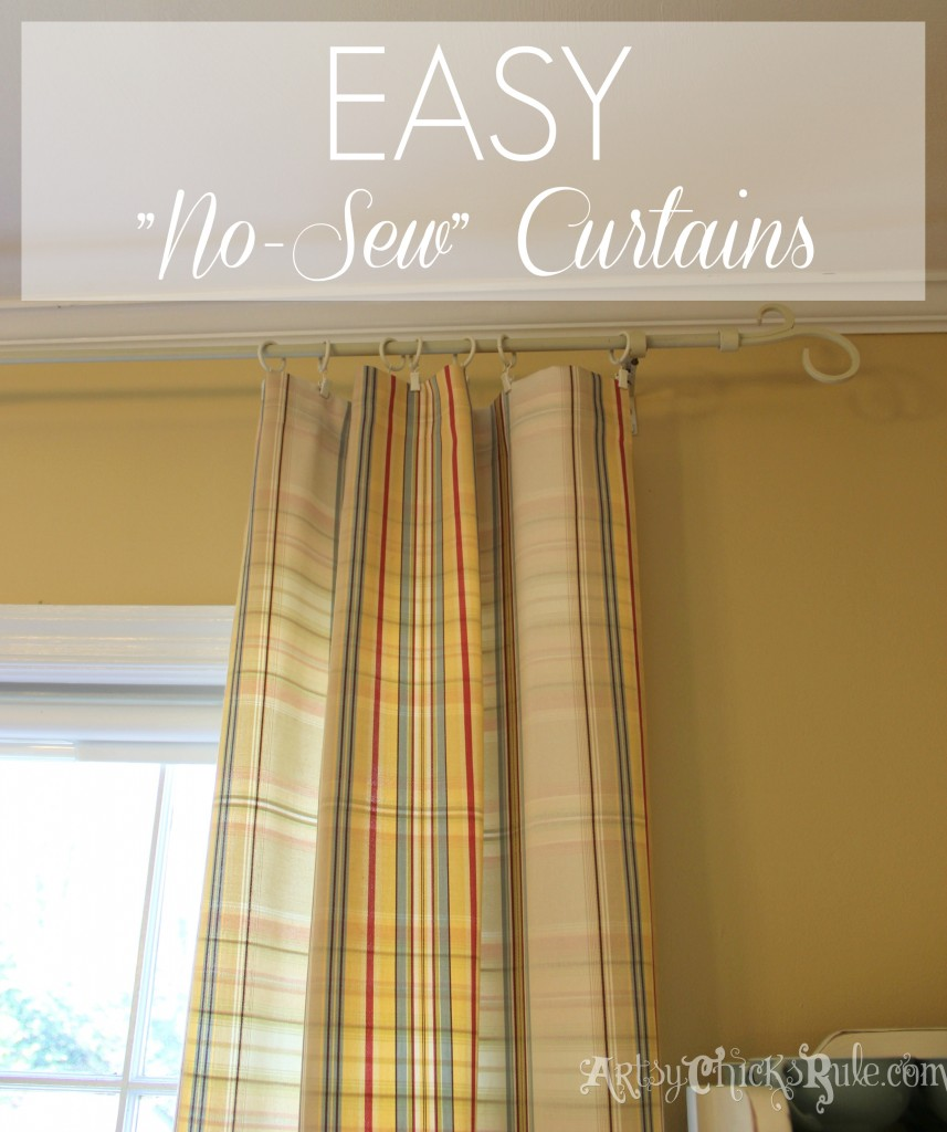 Super easy!! No Sew Curtain Panels - artsychicksrule.com #nosew