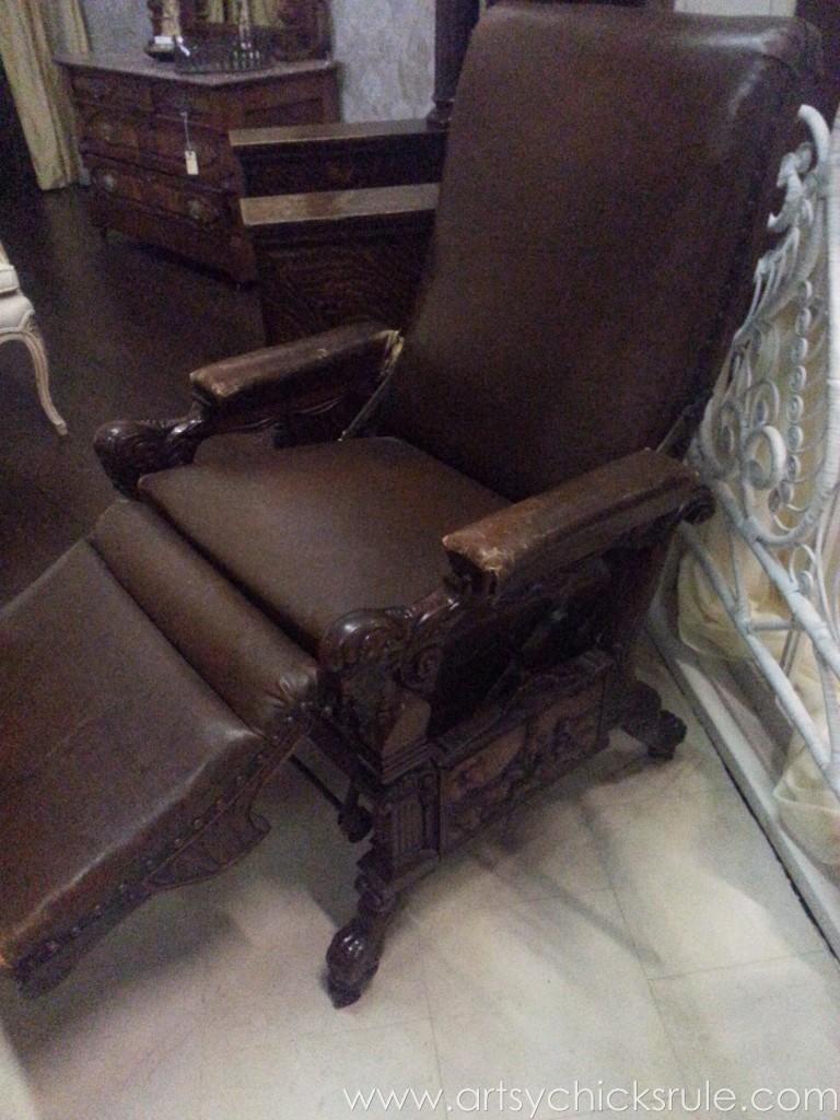 Antique leather recliner