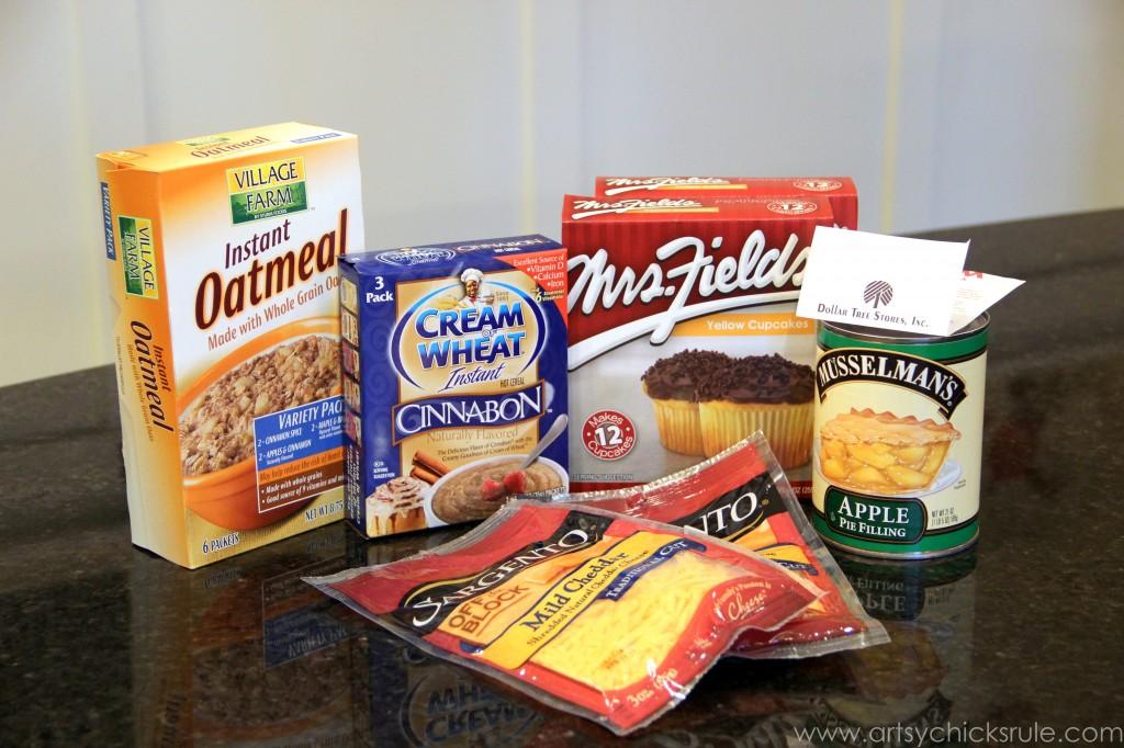 Dollar Store Dessert Challenge - Apple Chedder Spice Cake - Ingredients