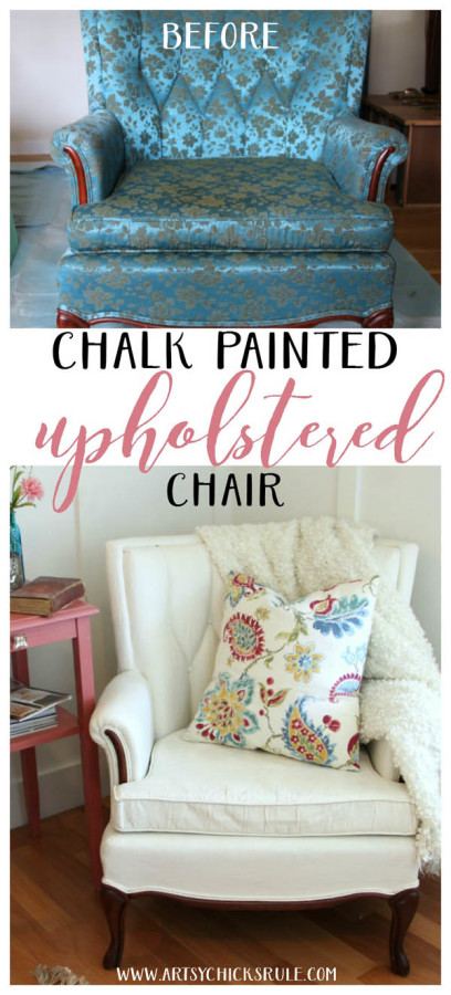You can paint fabric!! Don't like your chair? PAINT IT!!Thrifty Chair Makeover with Chalk Paint - artsychicksrule.com #paintedupholstery #chalkpaintedchair #chalkpaint