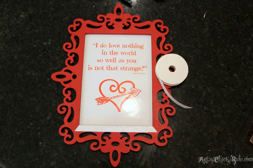 Simple & Fun Valentine's Day Craft - attaching sparkle tape