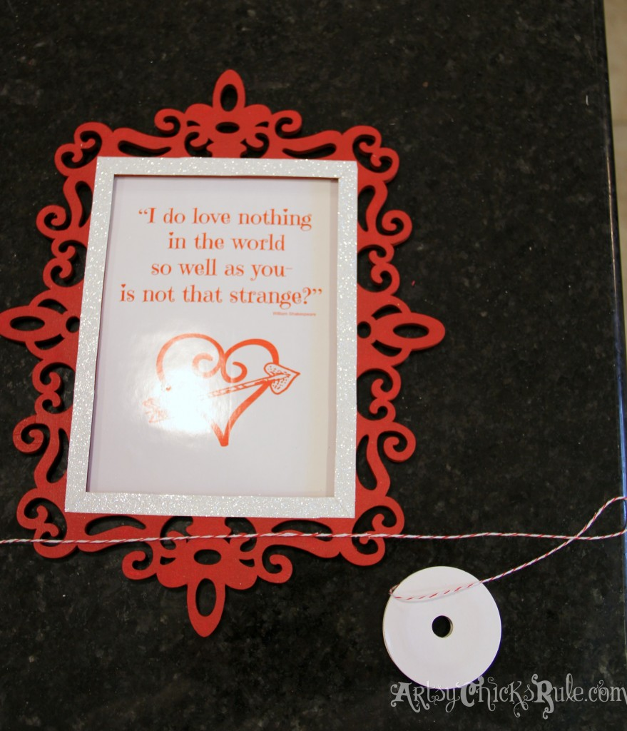 Simple & Fun Valentine's Day Craft -applying red/white rope
