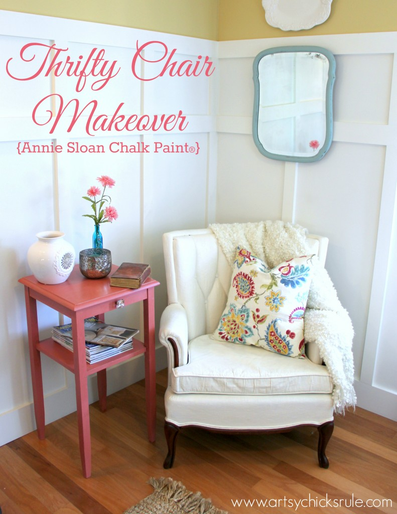 Thrifty Chair Makeover with Chalk Paint - artsychicksrule.com #paintedupholstery #chalkpaint #paintingupholstery