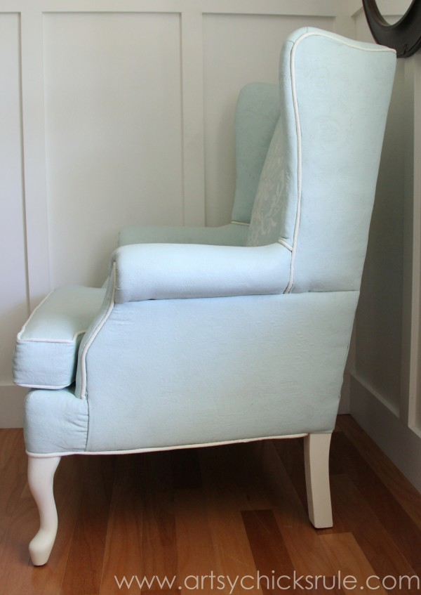 Chalk Painted Upholstered Chair Makeover - Side View - artsychicksrule.com #paintedupholstery #chalkpaint #diy