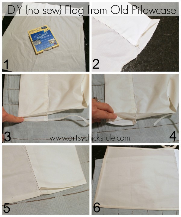DIY No Sew Flag from Old Pillowcase