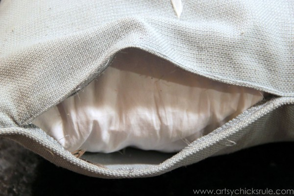 Feather Pillow Fail-  a No-Sew Fix - Seam open to remove feather insert - artsychicksrule  #nosew.com