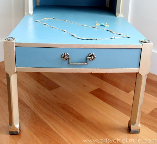 Turquoise Chalk Paint & Gold Metallic Side Table -Front Drawer - artsychicksrule.com #chalkpaint #goldmetallic #metallicfurniture #turquoise