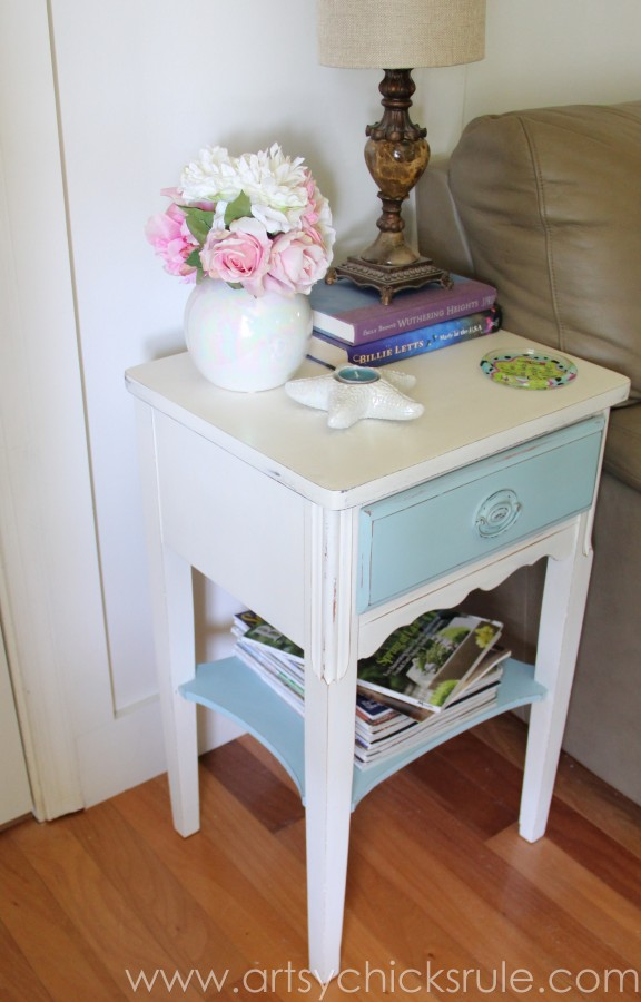 Thrifty End Table Makeover - (with Chalk Paint and Drawer Flair! ;) )- artsychicksrule.com #chalkpaint #duckeggblue #shabby #coastal #paintedfurniture #chalkpaintedfurniture #furnituremakeover