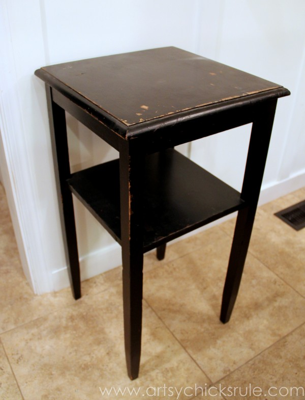 Thrifty Side Table Makeover-Annie Sloan Chalk Paint-Before Side- artsychicksrule.com #chalkpaint