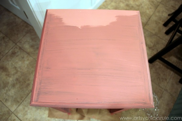 Thrifty Side Table Makeover-Annie Sloan Chalk Paint-One Coat- artsychicksrule.com #chalkpaint