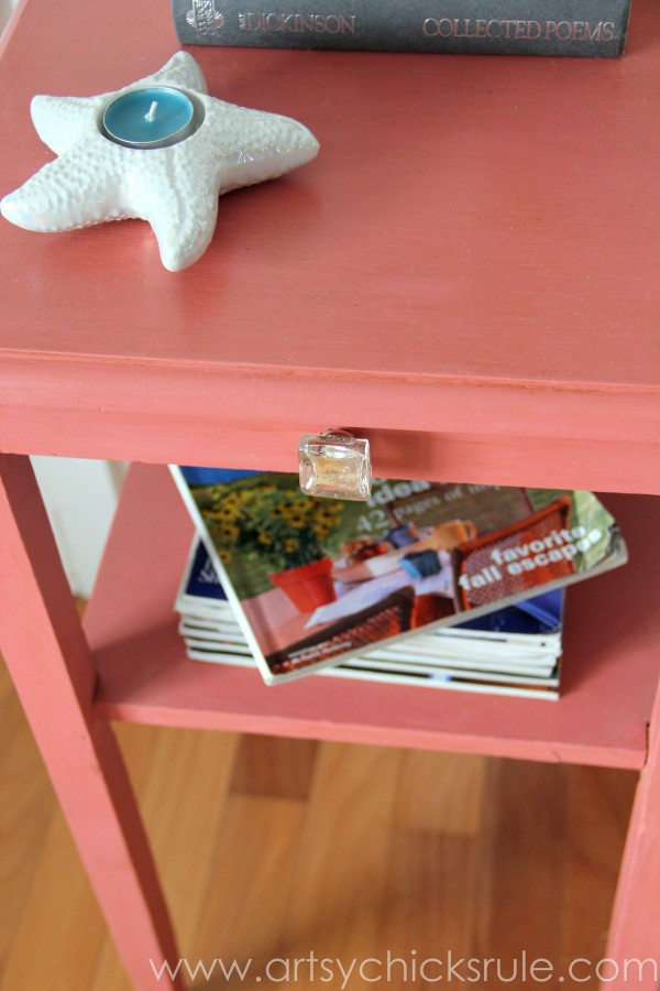 Thrifty Side Table Makeover-Annie Sloan Chalk Paint-Top View- artsychicksrule.com #chalkpaint