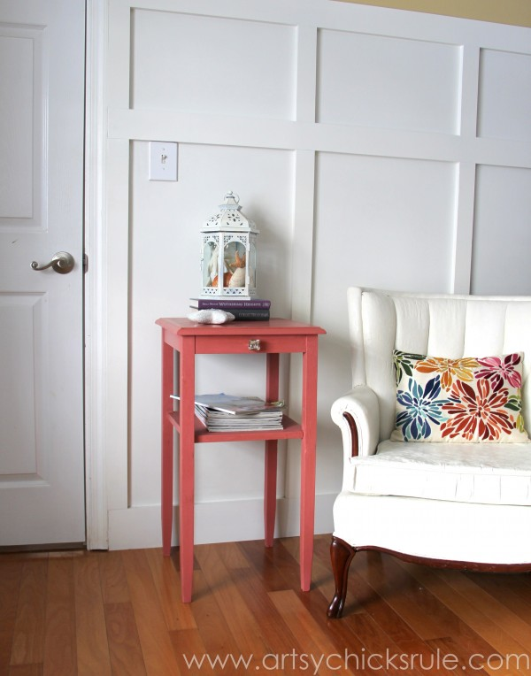 Thrifty Side Table Makeover-Annie Sloan Chalk Paint-with Chalk Painted Chair- artsychicksrule.com #chalkpaint