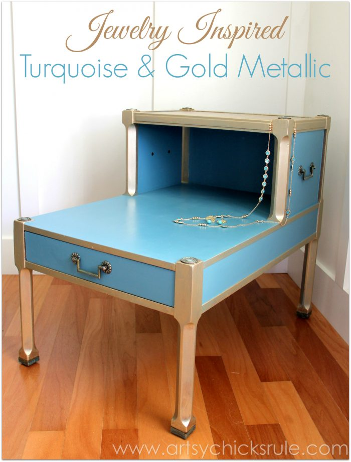 Turquoise Chalk Paint Gold Metallic Makeover jewelry inspired